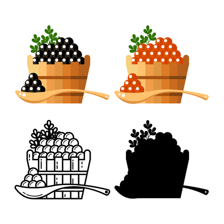 spawn: Black and red redcaviar in a wooden barrel isolated on white background. Roe thin line silhouette icon logo vector illustration. Russian traditional snack. Caviare menu for restaurant.
