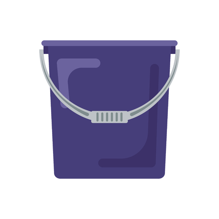 Blue flat empty bucket icon logo vector illustration. Container garden household equipment tool isolated on white background. Cleaning service