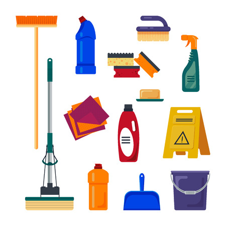 kitchen cleaning: Cleaning service. Set house cleaning tools icons logo isolated on white background, flat vector illustration, household equipment. Illustration
