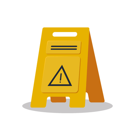Wet floor object flat logo isolated on white background vector illustration. Yellow sign caution cleaning.
