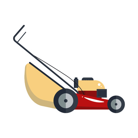 Lawn mower machine icon technology equipment tool isolated on white background, gardening grass-cutter groundworks- vector stock.