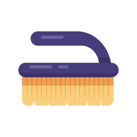 Cleaning service. Flat brush fetlock vector icon logo illustration. Household equipment tool isolated on white background.