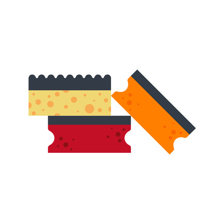 Sponge flat icon logo vector illustration isolated on white background. Clean object, household equipment tool. Cleaning service, housekeeping cleanness