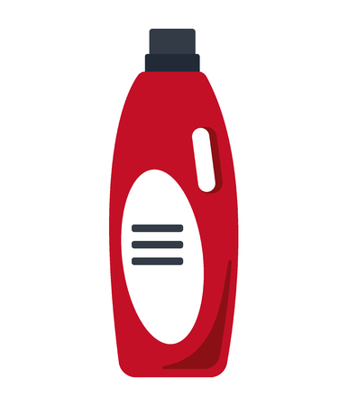 kitchen cleaning: Cleaning service. Cleancer house tool icon logo isolated on white background, flat vector illustration, household equipment, red bottle.