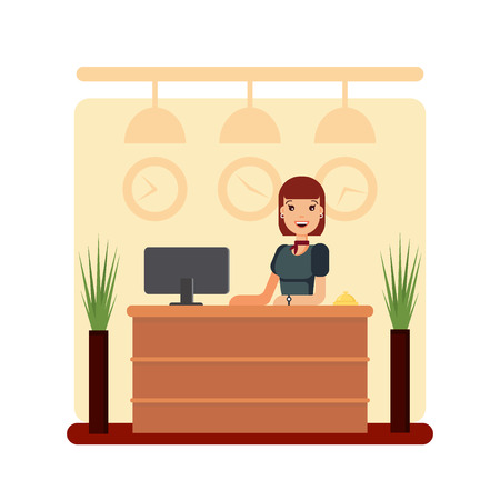 Flat hotel reception desk with young woman receptionist. Girl manager standing, business office concept. Welcome registration stock vector illustration.