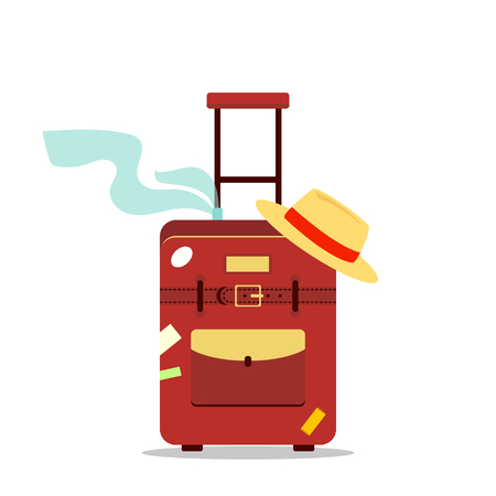 sand trap: Flat travel bag, scarf and hat isolated on white background - vector stock illustration. Icon logo tourism, vacation summer concept. Suitcase with stickers.
