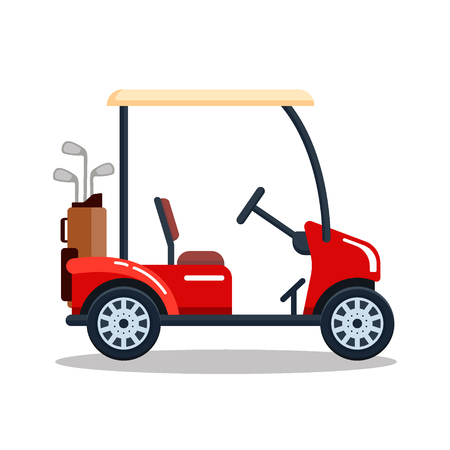 sports equipment: Vector electric golf car with golf club bag. Transport, vehile isolated on white background