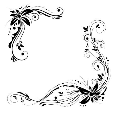 Floral corner design. Ornament black flowers on white background.  イラスト・ベクター素材