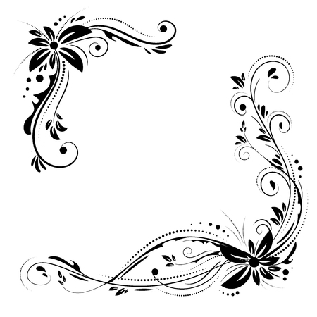 Floral corner design. Ornament black flowers on white background. Illustration