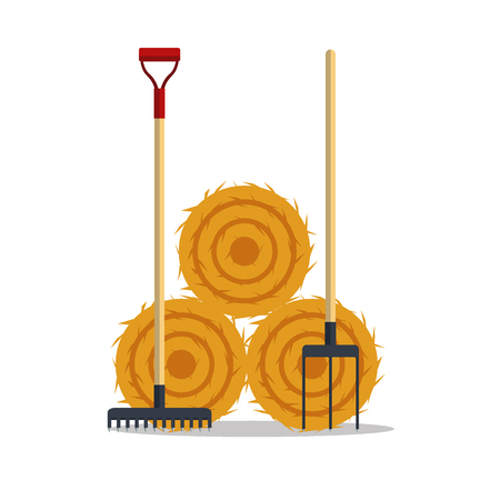 Flat dried haystack with hayfork and rake isolated on white background. Farming haymow bale hayloft vector illustration Çizim
