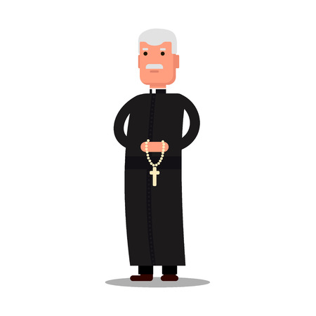 Pastor character standing with cross isolated on white background. Preacher man flat style.