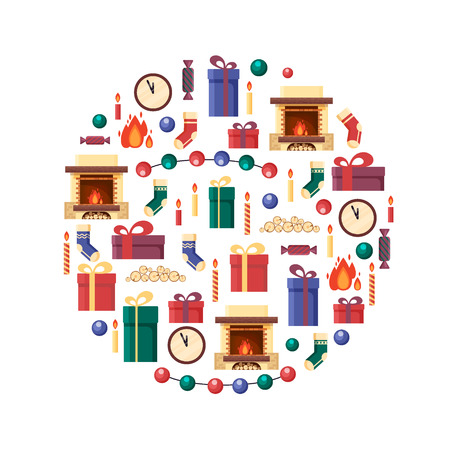 fireplace: Christmas elements in circle. Gifts, clock, candle, fireplace, socks, wood, candy. Colorful festive objects for greeting card in flat style. Xmas home decoration - stock vector illustration
