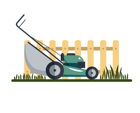 Lawn mower machine icon technology equipment tool, gardening grass-cutter with grass and fence isolated on white background - vector stock ilustration