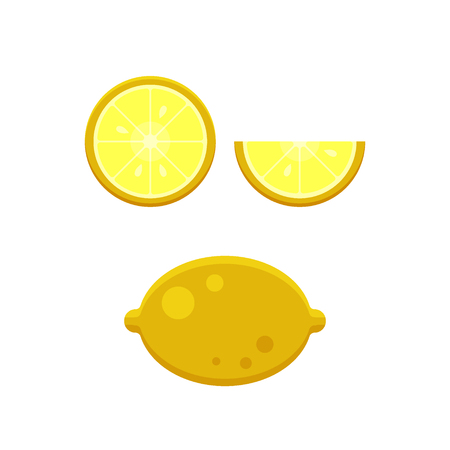 Collection of lemons slice isolated on white background - flat vector illustration. Design elements for restaurant menu, recipe. Healthy food Illustration