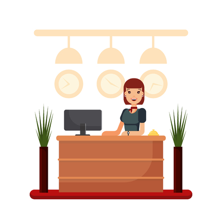 Flat hotel reception desk with young woman receptionist. Girl manager standing, business office concept. Welcome registration stock vector illustration