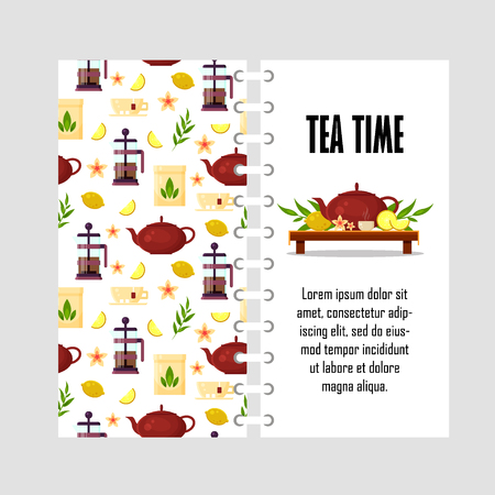 Vector template with teapot, french press, cup, lemon, tea leaf. Cover design for print - flat illustration