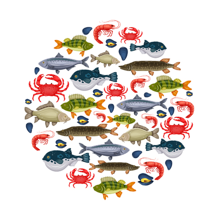 Seafood set with crab, fish, mussel, shrimp in circle. Design for restaurant menu, market. Marine creatures in flat style.