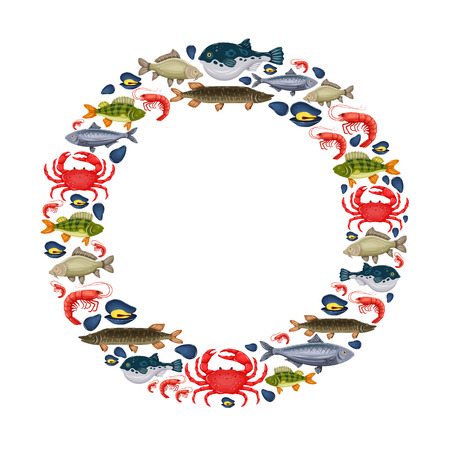 Seafood set with crab, fish, mussel, shrimp in circle and place for your text. Design for restaurant menu, market. Marine creatures in flat style - vector illustration