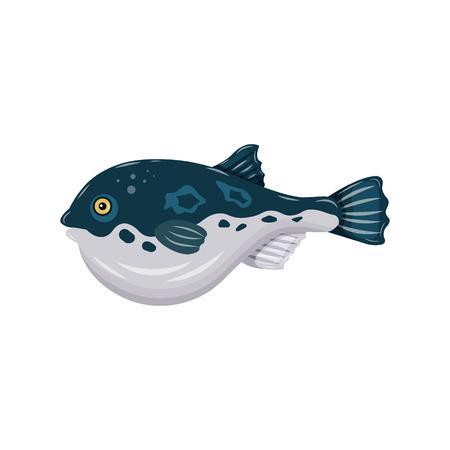 Flat fugu pufferfish isolated on white background. Fresh raw fish - vector illustration. Design element for emblem, menu, logo, label, sign, brand mark.