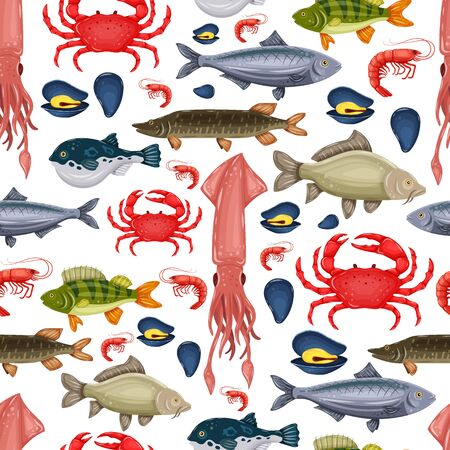 Seamless pattern seafood set with crab, fish, mussel and shrimp isolated on white background. Design for restaurant menu, market. Marine creatures in flat style - vector illustration