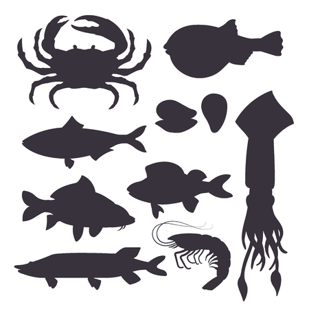 Seafood set black silhouette with crab, fish, mussel and shrimp isolated on white background. Design for restaurant menu, market. Marine creatures in flat style - vector illustration