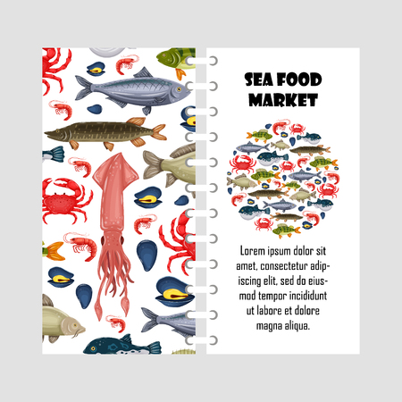 Vector template seafood set with crab, fish, mussel and shrimp isolated on white background. Cover design for restaurant menu, market. Marine creatures in flat style - stock illustration for print