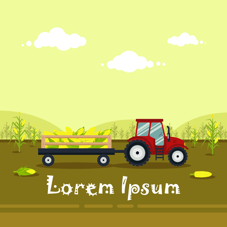 tractor trailer: Flat red tractor with a cart corn. The agricultural machinery transports for farm with harvest - vector illustration. Farming landscape Illustration