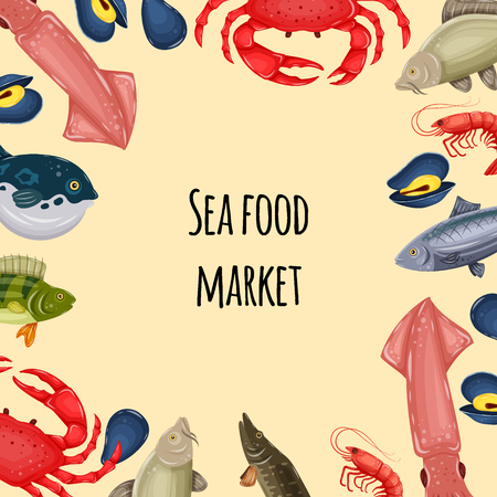 Seafood banner - crab, fish, mussel and shrimp with place for your text. Design for restaurant menu, market. Marine creatures in flat style - vector illustration Illustration