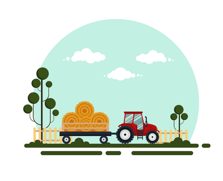 Flat red tractor with a cart hay. The agricultural machinery transports for farm with haystack, vector illustration. Farming landscape. Illustration