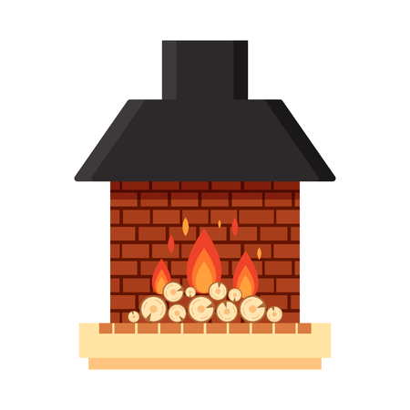 Vector different colorful home fireplace with fire and firewood on white background. Design elements for room interior in flat style, fire warm, stock illustration.