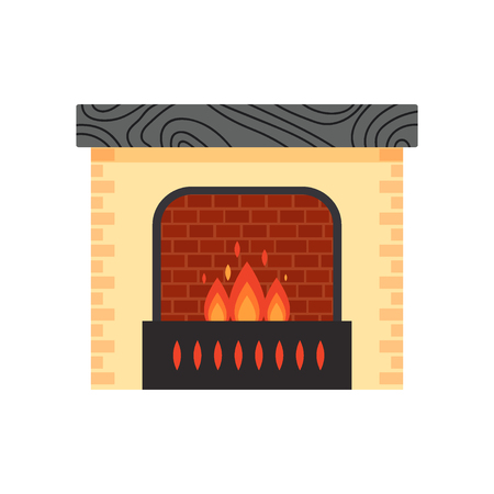 Vector different colorful home fireplace with fire isolated on white background. Design elements for room interior in flat style, fire warm - stock illustration