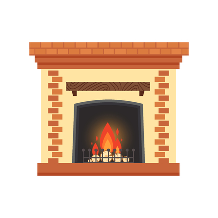 Colorful home fireplace Stock Vector - 90528828