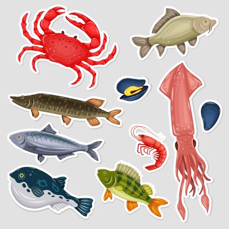 Stickers seafood set Vector Illustration