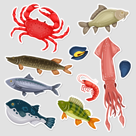 Stickers seafood set Vector Illustration