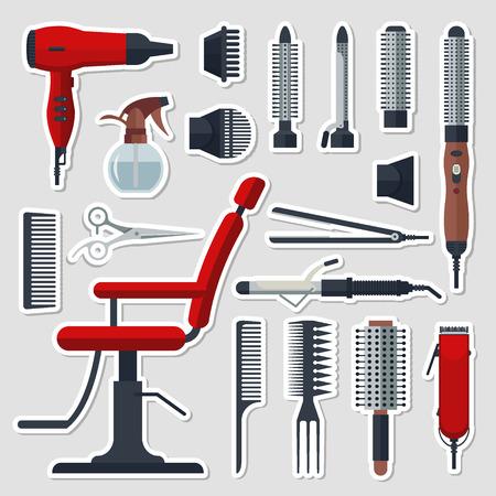 Sticker set of hairdresser objects in flat style Vector Illustration Illustration