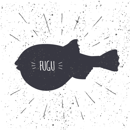 Hand drawn fugu pufferfish icon fish in black and white color with textured background. Design element for emblem, menu, label, sign, brand mark - vector illustration
