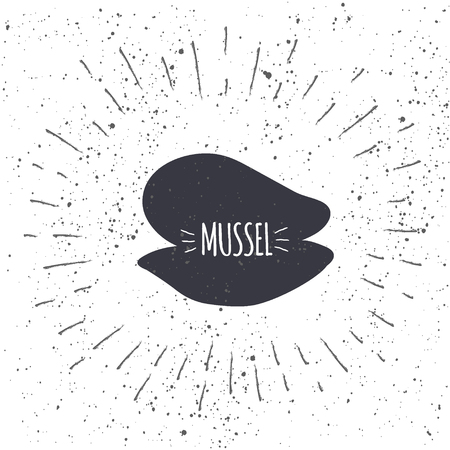 Hand drawn mussel icon logo in black and white color with textured background. Design element for emblem, menu, logo, label, sign, brand mark - vector illustration