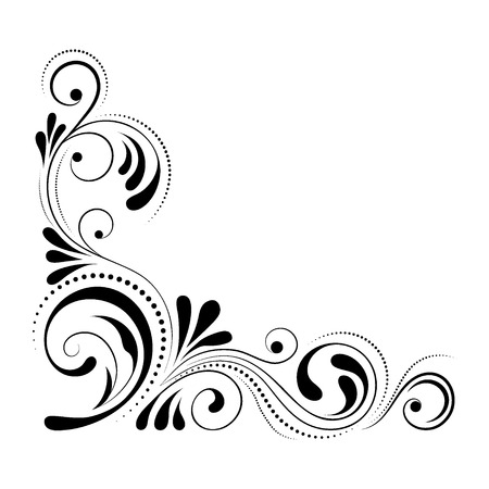 Floral corner design. Swirl ornament isolated on white background - vector illustration. Decorative border with curve elements, pattern Illustration