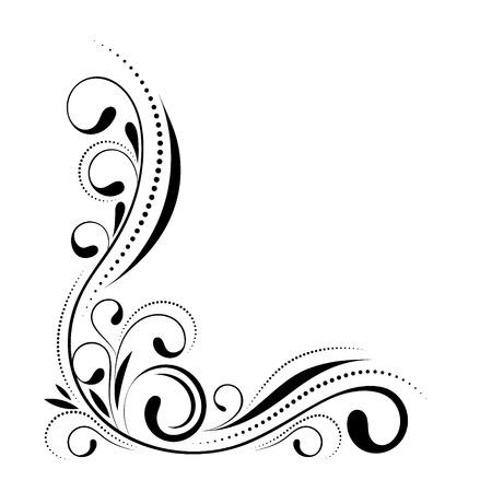 Conception de coin floral. Swirl ornement isolé sur fond blanc - illustration vectorielle. Bordure décorative avec éléments de courbe, motif