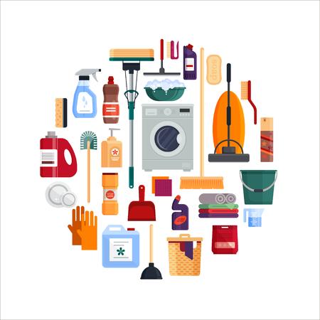 Projeto de círculo de serviço de limpeza. Ajuste ferramentas da limpeza da casa isoladas no fundo branco. Produtos detergentes e desinfetantes, equipamentos domésticos para lavar - ilustração vetorial plana Foto de archivo - 92523903