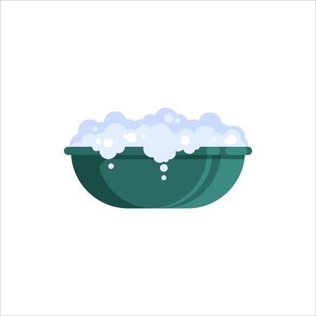 Flat plastic basin with soap foam isolated on white background. Washbowl with suds, household cleaning equipment for washing vector illustration