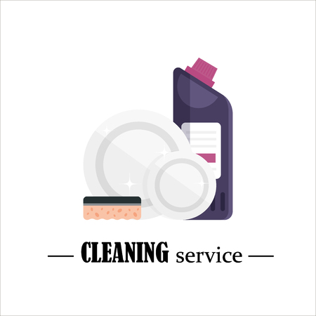 Clean dishes with sponge and detergent isolated on white background. Cleaning service, set house cleaning tools, disinfectant products, household equipment for washing - flat vector illustration