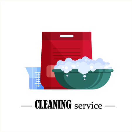 Cleaning service banner emblem vector illustration