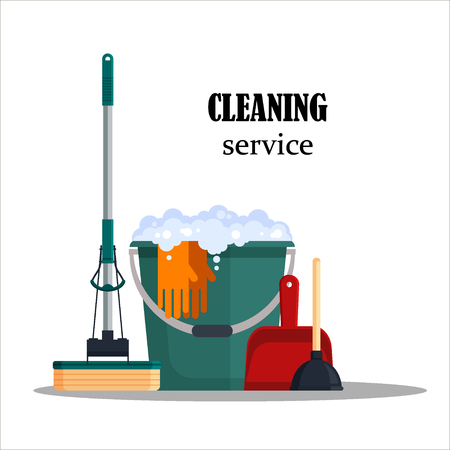 Cleaning service poster emblem vector illustration