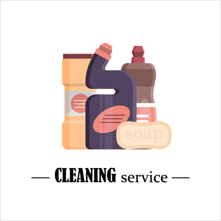 Cleaning service. Set house cleaning tools isolated on white background. Detergent and disinfectant products, household equipment for washing. Flat vector illustration.