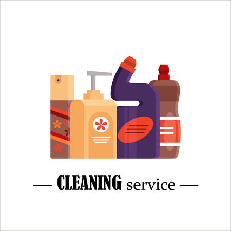 Cleaning service. Set house cleaning tools isolated on white background. Detergent and disinfectant products, household equipment for washing - flat vector illustration