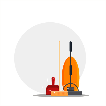 Cleaning service. Set house cleaning tools with vacuum cleaner, wooden broom, red scoop with place for your text. Household equipment for mopping - flat vector illustration