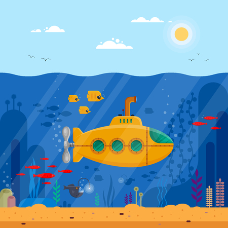 Yellow submarine with periscope underwater concept. Marine life with fish, coral, seaweed, colorful blue ocean landscape. Bathyscaphe template for banner, poster or flyer cover - flat vector illustration Çizim