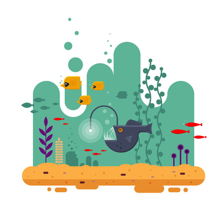 The Angler fish swims on depth among other fish, the colorful underwater world with seawood and sand - flat vector illustration. Иллюстрация
