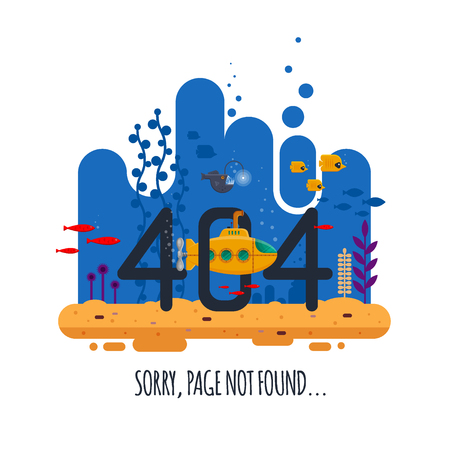 404 error page not found concept with undersea world isolated on white background. Yellow submarine with periscope - flat vector illustration Archivio Fotografico - 95035852